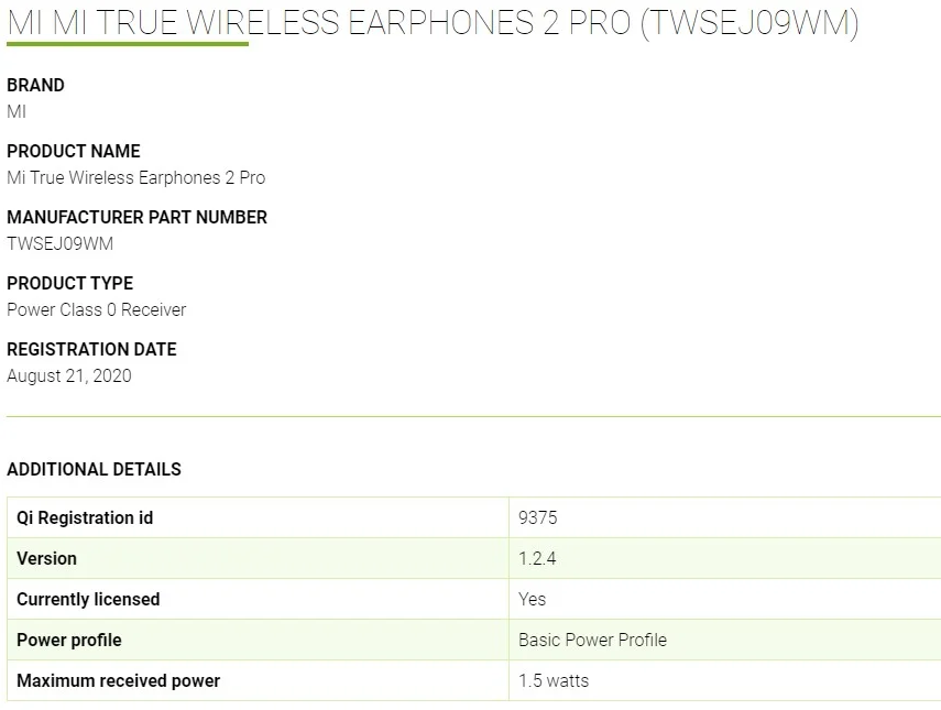 Xiaomi Mi True Wireless Earphones 2 Pro