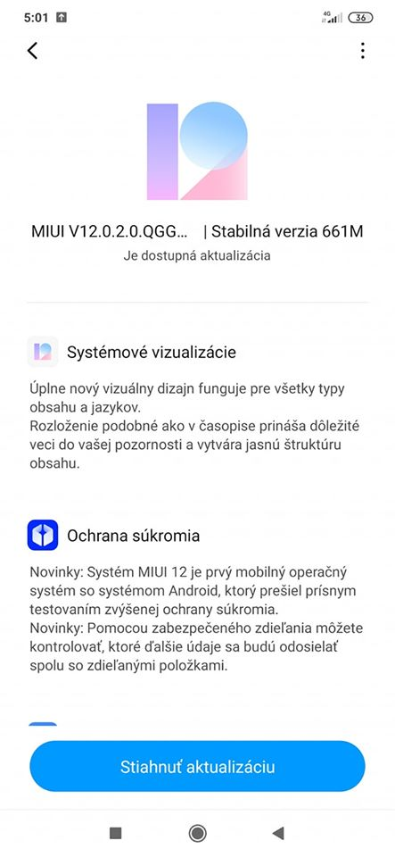 MIUI 12 aktualizace