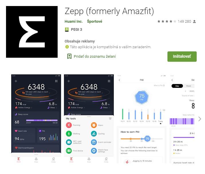 aplikácia Zepp