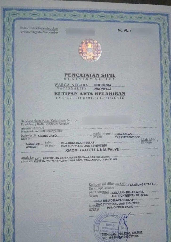 xiaomi birth certificate